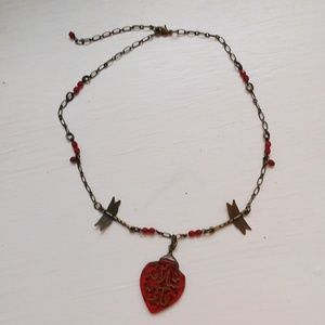 Jewelry - Brass and deep red beads with dragonfly beads!/new